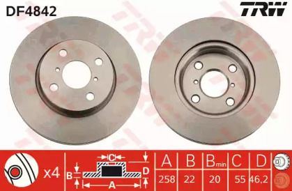 Вентилируемый тормозной диск на Дайхатсу Шарада 'TRW DF4842'.