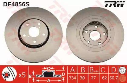 Вентилируемый тормозной диск на LEXUS RC 'TRW DF4856S'.