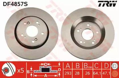 Вентилируемый тормозной диск на Хонда Кросстур 'TRW DF4857S'.