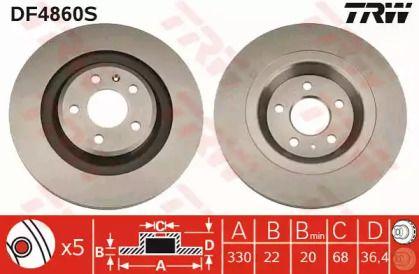 Вентилируемый тормозной диск на Ауди Ку5 'TRW DF4860S'.