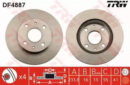 Вентилируемый тормозной диск на Дайхатсу Куоре 'TRW DF4887'.