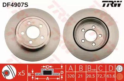Вентилируемый тормозной диск на CHRYSLER 300C 'TRW DF4907S'.