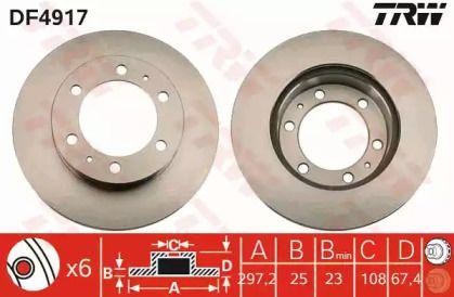 Вентилируемый тормозной диск на Тайота Фортунер 'TRW DF4917'.