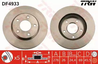 Вентилируемый тормозной диск на Додж Калибер 'TRW DF4933'.