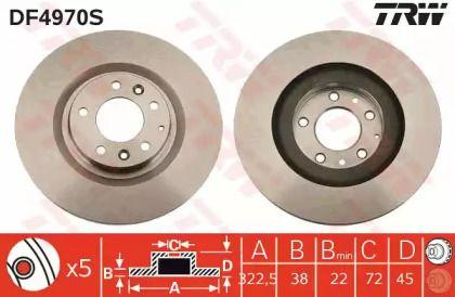 Вентильований гальмівний диск на MAZDA RX-8 TRW DF4970S.
