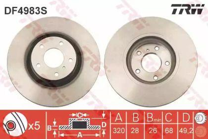 Вентилируемый тормозной диск на Инфинити Джи 'TRW DF4983S'.