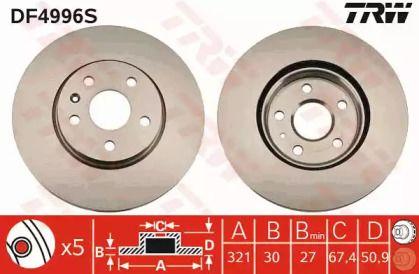 Вентилируемый тормозной диск на CHEVROLET CAMARO 'TRW DF4996S'.
