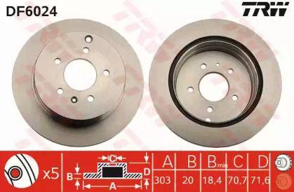 Вентилируемый тормозной диск на CHEVROLET CAPTIVA 'TRW DF6024'.