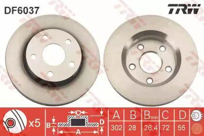 Вентилируемый тормозной диск на JEEP WRANGLER 'TRW DF6037'.