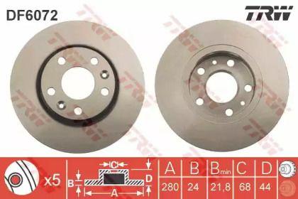 Вентилируемый тормозной диск на Рено Дастер 'TRW DF6072'.
