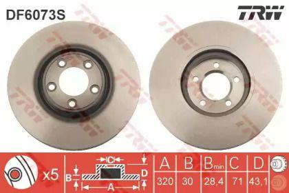 Вентилируемый тормозной диск на Ягуар ХЖ 'TRW DF6073S'.