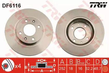 Вентилируемый тормозной диск на HYUNDAI I10 'TRW DF6116'.