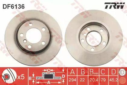 Вентилируемый тормозной диск на MINI COUNTRYMAN 'TRW DF6136'.