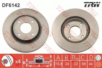 Вентилируемый тормозной диск на NISSAN CUBE 'TRW DF6142'.