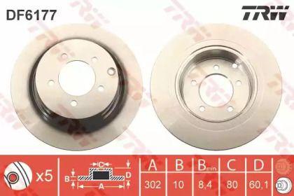 Тормозной диск на Лянча Флавия 'TRW DF6177'.