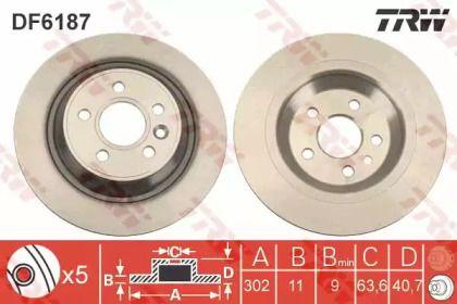 Тормозной диск на VOLVO S60 'TRW DF6187'.