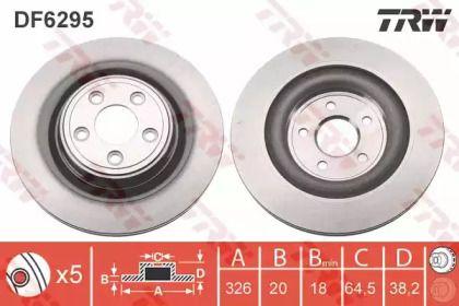Вентилируемый тормозной диск на JAGUAR XK 'TRW DF6295'.