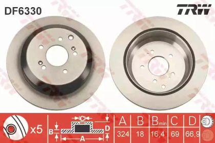 Вентилируемый тормозной диск на Хендай Ай икс 55 'TRW DF6330'.