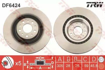 Вентилируемый тормозной диск на FIAT 500L 'TRW DF6424'.