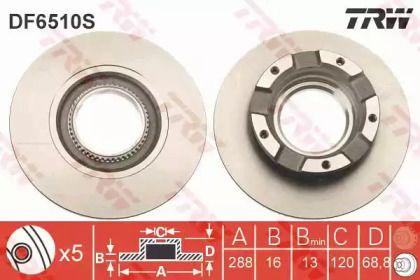 Тормозной диск на FORD TOURNEO CUSTOM 'TRW DF6510S'.