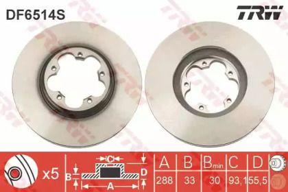 Вентилируемый тормозной диск на Форд Турнео Кастом 'TRW DF6514S'.