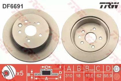 Вентилируемый тормозной диск на Лексус ГС 'TRW DF6691'.