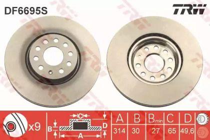 Вентилируемый тормозной диск 'TRW DF6695S'.