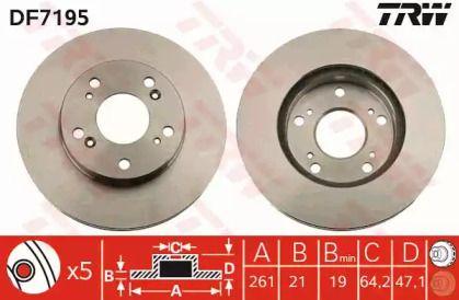 Вентилируемый тормозной диск на NISSAN BLUEBIRD 'TRW DF7195'.