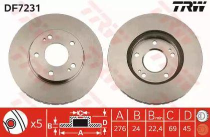 Вентилируемый тормозной диск на MITSUBISHI GRANDIS 'TRW DF7231'.