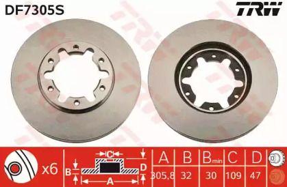 Вентилируемый тормозной диск на Ниссан Патрол 'TRW DF7305S'.