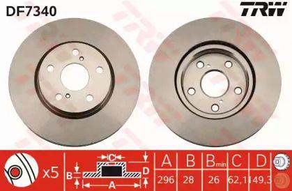 Вентилируемый тормозной диск на Лексус Ис 'TRW DF7340'.