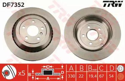 Вентилируемый тормозной диск на MERCEDES-BENZ GL-CLASS 'TRW DF7352'.