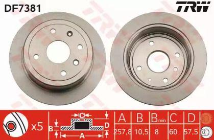 Тормозной диск на Шевроле Оптра 'TRW DF7381'.