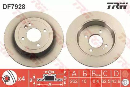 Тормозной диск на HYUNDAI VERNA 'TRW DF7928'.