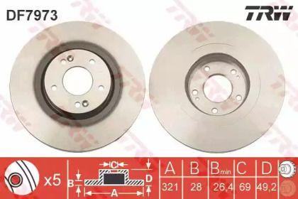 Вентилируемый тормозной диск на HYUNDAI GRAND SANTA FE 'TRW DF7973'.