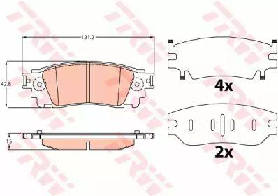Гальмівні колодки на LEXUS NX 'TRW GDB4459'.