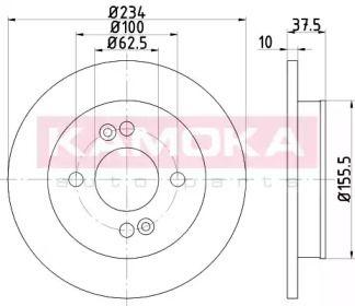 Тормозной диск 'KAMOKA 1031027'.