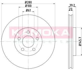 Вентилируемый тормозной диск на CHRYSLER PT CRUISER 'KAMOKA 103105'.
