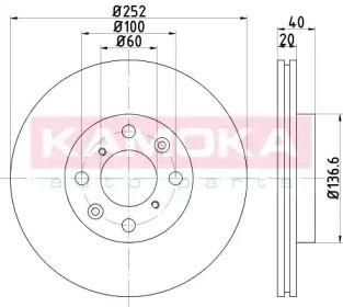 Вентилируемый тормозной диск на Сузуки Сплэш 'KAMOKA 1031059'.