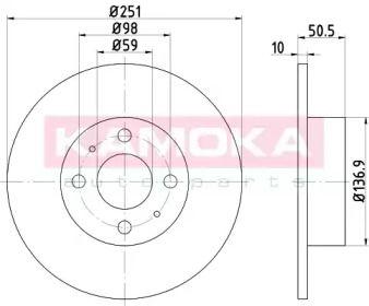 Тормозной диск на FIAT MULTIPLA 'KAMOKA 103132'.