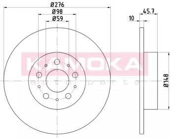 Тормозной диск на ALFA ROMEO GT 'KAMOKA 103158'.