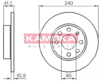 Тормозной диск 'KAMOKA 1032258'.