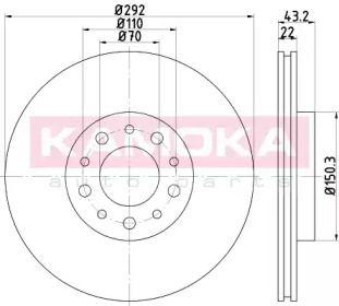 Вентилируемый тормозной диск на Альфа Ромео Брера KAMOKA 103229.