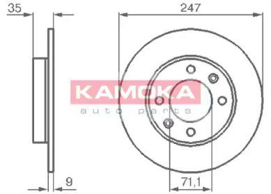 Задний тормозной диск 'KAMOKA 1032356'.