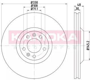 Вентилируемый тормозной диск на CITROEN C6 'KAMOKA 103299'.