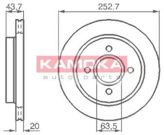 Вентилируемый тормозной диск 'KAMOKA 103958'.