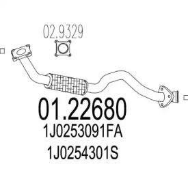 Приемная труба глушителя на SEAT LEON 'MTS 01.22680'.