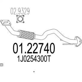 Приемная труба глушителя на SEAT LEON 'MTS 01.22740'.