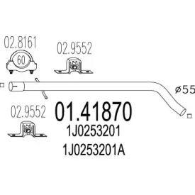 Приемная труба глушителя на Сеат Леон 'MTS 01.41870'.