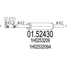 Резонатор на Фольксваген Гольф 'MTS 01.52430'.